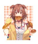 :3 animal_ears bangs blue_bow bone_hair_ornament bow brown_eyes brown_hair buttons cartoon_bone chocolate_cornet collar dog_collar dog_ears dog_girl dog_tail dress food food_in_mouth hair_between_eyes hair_ornament hairclip highres hihara_you hololive inugami_korone jacket long_hair low_twin_braids off-shoulder_jacket red_bow red_collar short_dress tail virtual_youtuber white_dress yellow_jacket
