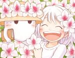 1girl 1other bangs blush book closed_eyes dated flower ghost hair_flower hair_ornament hat kohei_nakaya leaf open_mouth original pencil shirt short_hair signature smile sweatdrop white_flower white_hair white_shirt