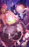 1girl :d basket book bow bowtie card cookie dress eyes_visible_through_headwear falling fate/extra fate_(series) food globe grey_dress grey_footwear grey_headwear grey_legwear hat highres looking_at_viewer nursery_rhyme_(fate/extra) open_book open_mouth pantyhose pink_eyes pink_hair pocket_watch shichigatsu shoes smile solo watch