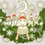 1girl 1other arm_up bangs barefoot blush christmas closed_eyes crescent ghost grey_scarf hat kohei_nakaya leaf long_sleeves open_mouth original pinecone red_headwear santa_hat scarf short_hair smile snowflakes snowman stuffed_animal stuffed_toy teddy_bear waving white_hair
