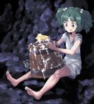 1girl :p barefoot blush_stickers bucket cave commentary_request green_eyes green_hair hair_bobbles hair_ornament holding holding_sponge japanese_clothes kimono kisume looking_down outstretched_legs short_hair sitting sleeves_pushed_up soap_bubbles solo sponge sunyup tongue tongue_out touhou two_side_up washing washtub white_kimono