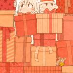 1girl 1other bangs black_eyes blush bow box cheese food gift gift_box kohei_nakaya mouse original red_bow short_hair star_(symbol) sweatdrop white_hair