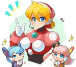 3girls alia_(rockman) android bangs blonde_hair blue_eyes blue_hair blunt_bangs blush breasts capcom closed_mouth dated framed_breasts hair_between_eyes hand_on_hip headset index_finger_raised long_hair microphone multiple_girls navigator_(irregular_hunter_x) open_mouth pink_hair robot_ears rockman rockman_x short_hair smile sparkle tobitori white_background