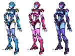 3girls blue_eyes breasts highres humanoid_robot large_breasts multiple_girls navel no_humans open_hand original pink_eyes robot signature standing tack_(dnet) variations visor white_background