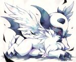absol claws commentary_request full_body gen_3_pokemon kuronekotarou looking_at_viewer lying mega_absol mega_pokemon no_humans pokemon pokemon_(creature) red_eyes solo tail tongue tongue_out white_fur