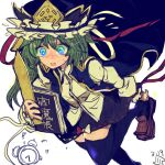 1girl alarm_clock bag black_legwear book clock hat holding holding_book jacket late late_for_school loafers maaru_(akira428) putting_on_shoes running shiki_eiki shoes solo touhou worried