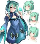 1girl :3 absurdres animal animal_on_hand bangs blue_bow blue_dress blue_sleeves blush bow brown_eyes bug butterfly butterfly_on_hand closed_mouth collarbone cropped_torso detached_sleeves double_bun dress eyebrows_visible_through_hair green_hair hair_bow hair_ornament hand_up highres hololive huge_filesize insect juliet_sleeves long_hair long_sleeves moyoron multiple_views nude parted_lips puffy_sleeves red_eyes sidelocks simple_background skull_hair_ornament sleeveless sleeveless_dress smile uruha_rushia virtual_youtuber white_background wide_sleeves