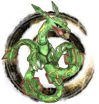 black_sclera claws commentary_request dated dragon eastern_dragon fang full_body gen_3_pokemon kanna_(kan419_k) legendary_pokemon looking_at_viewer no_humans open_mouth pokemon pokemon_(creature) rayquaza skin_fang solo watermark yellow_eyes
