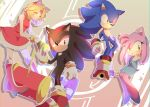 2boys 2girls amy_rose amy_rose_(cosplay) animal_ears blue_dress boots breasts chaos_emerald cosplay costume_switch dress gloves green_eyes hairband hammer holding jewelry maria_robotnik maria_robotnik_(cosplay) multiple_boys multiple_girls red_dress red_eyes red_footwear ring shadow_the_hedgehog shadow_the_hedgehog_(cosplay) shoes small_breasts sneakers sonic sonic_(cosplay) sonic_the_hedgehog tondamanuke white_gloves