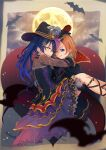 2girls bat blue_eyes blue_hair capelet carrying cloak commentary_request gloves hair_ornament halloween halloween_costume hat highres kousaka_honoka long_hair long_sleeves looking_at_viewer love_live! love_live!_school_idol_festival love_live!_school_idol_project macken moon multiple_girls one_side_up orange_hair princess_carry sonoda_umi witch_hat yellow_eyes