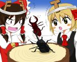 2girls :d :o beetle black_shirt bug cardboard_horns detached_sleeves fake_horns hair_tubes hakurei_reimu horns insect lifting multiple_girls open_mouth red_shirt rhinoceros_beetle rumia shirt sinonome802 smile stag_beetle t-pose touhou tree_stump