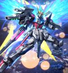amasaki_yusuke clenched_hands energy_wings flying green_eyes gun gundam gundam_build_fighters highres holding holding_gun holding_weapon looking_at_viewer mecha solo space star_build_strike_gundam v-fin weapon