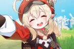 1girl ^_^ ^o^ ahoge bag blonde_hair blue_sky blush cabbie_hat closed_eyes day dress face genshin_impact grass happy hat klee_(genshin_impact) long_sleeves looking_at_viewer open_mouth outdoors pointy_ears red_dress red_eyes red_headwear self_shot sky smile solo the_cold