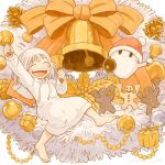 1girl 1other barefoot bell bow box christmas cookie drawstring food ghost gift gift_box holding holding_bell hood hood_down hoodie hoodie_dress kohei_nakaya long_sleeves orange_bow original ornament pinecone white_hoodie
