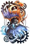 blue_eyes blue_fire charizard claws commentary_request dragon eye_contact fangs fire flame gears gen_1_pokemon highres kanna_(kan419_k) looking_at_another mega_charizard_x mega_charizard_y mega_pokemon no_humans open_mouth pokemon pokemon_(creature) red_eyes tongue