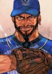 1boy alternate_costume baseball baseball_cap baseball_jersey baseball_mitt baseball_uniform beard black_hair blue_headwear capcom facial_hair grey_eyes hat hungry_clicker male_focus manly muscle mustache open_mouth pitching print_headwear rashid_(street_fighter) simple_background solo sportswear street_fighter street_fighter_v upper_body