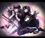 2boys absurdres bag black_cape black_footwear black_hair black_headwear black_legwear black_pants cape checkered checkered_scarf commentary_request cosplay costume_switch danganronpa double-breasted dress_shirt dual_persona evil_grin evil_smile explosive grenade grin hair_between_eyes hammer handheld_game_console hat highres holding holding_phone jacket knee_up letterboxed long_sleeves looking_at_viewer male_focus multiple_boys nanin new_danganronpa_v3 ouma_kokichi pants phone purple_hair scarf shirt shoes short_hair sitting smile snot socks straitjacket tears torn_cape torn_clothes violet_eyes white_jacket white_pants