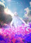 1girl clouds copyright_name facing_away fate/grand_order fate/prototype fate_(series) flower from_behind holding long_hair merlin_(fate/prototype) otsumami_(bu-bu-heaven) outdoors scenery sky solo staff standing sunlight tagme very_long_hair white_hair white_robe
