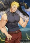 1boy bara bare_arms bare_shoulders blonde_hair chest covered_abs cowboy_shot facial_hair fairy_tail fur-trimmed_jacket fur_trim gumroad_username jacket jacket_removed kienbiu laxus_dreyar male_focus muscle patreon_username shirt short_hair sideburns skin_tight sleeveless sleeveless_shirt solo spiky_hair taut_clothes taut_shirt thick_thighs thighs twitter_username