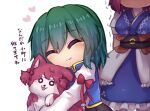 2girls :3 :p ^_^ animal animal_hug blush closed_eyes commentary dog heart highres juliet_sleeves long_sleeves multiple_girls no_hat no_headwear o_o onozuka_komachi puffy_sleeves shiki_eiki short_hair simple_background sweat tongue tongue_out touhou translated trembling two_side_up unime_seaflower white_background