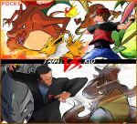 2boys baseball_cap belt black_hair black_jacket black_pants black_shirt character_name charizard commentary_request copyright_name fire gen_1_pokemon giovanni_(pokemon) hat hitmonlee holding holding_poke_ball jacket jolteon legs_apart male_focus multiple_boys pants poke_ball poke_ball_(basic) pokemon pokemon_origins red_(pokemon) rhydon rhyhorn shirt short_hair short_sleeves team_rocket ultra_ball victreebel you_(kumi_siro_kuro)