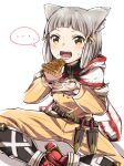 ... 1girl animal_ears bangs blunt_bangs blush bodysuit cat_ears dagger facial_mark fangs flat_chest food gloves indian_style looking_at_viewer nia_(xenoblade) open_mouth pie red_footwear roshia_nise_mango short_hair silver_hair simple_background sitting spoken_ellipsis weapon white_background white_gloves xenoblade_chronicles_(series) xenoblade_chronicles_2 yellow_bodysuit yellow_eyes