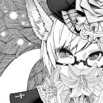 1girl absurdres animal_ears bangs cluseller commentary_request covering_mouth cross face final_fantasy final_fantasy_xiv flower glasses greyscale hat highres huge_filesize leaf lily_(flower) looking_at_viewer miqo'te monochrome semi-rimless_eyewear short_hair slit_pupils solo