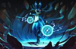 closed_mouth commentary_request energy full_body fur gen_4_pokemon highres looking_at_viewer lucario no_humans paws pokemon pokemon_(creature) red_eyes solo spikes standing standing_on_one_leg torio_(mocd1985)