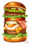 bacon cheese commentary cucumber_slice dated food fried_egg hamburger highres lettuce meat miwa_nagi no_humans original signature simple_background too_much_hamburger white_background