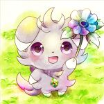 commentary_request espurr fang flower from_above fur gen_6_pokemon grass happy holding holding_flower jewelry kemoribon necklace no_humans open_mouth pokemon pokemon_(creature) smile solo standing tongue violet_eyes