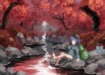 autumn autumn_leaves backpack bag blue_footwear blue_hair boots boots_removed feet green_bag green_headwear kawashiro_nitori river riverbank rock splashing sunyup touhou tree tree_shade water