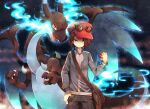 1boy bag black_pants blue_eyes blue_jacket brown_hair calem_(pokemon) charizard commentary_request eyewear_on_headwear gen_1_pokemon hand_in_pocket hat holding holding_poke_ball jacket long_sleeves looking_at_viewer male_focus mega_charizard_x mega_pokemon pants poke_ball poke_ball_(basic) pokemon pokemon_(creature) pokemon_(game) pokemon_xy shoulder_bag sunglasses uppi