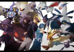 2boys black_sweater blonde_hair blue_hair blue_pants chandelure closed_mouth commentary_request crobat drifloon dusknoir falkner_(pokemon) gastly gen_1_pokemon gen_2_pokemon gen_3_pokemon gen_4_pokemon gen_5_pokemon gengar highres holding holding_poke_ball honchkrow legendary_pokemon lugia matsuhaya_senju mismagius morty_(pokemon) multiple_boys pants pidgeot poke_ball poke_ball_(basic) pokemon pokemon_(creature) pokemon_(game) pokemon_hgss purple_headband purple_scarf scarf short_sleeves skarmory smile sweater swellow wristband