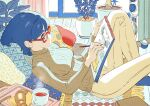 1girl blue_eyes blue_hair breasts croissant cup drawing food from_side glasses highres lying medium_breasts on_back original ribbed_sweater short_hair solo sweater teacup umishima_senbon