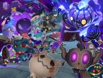 absurdres banette blue_fire chandelure cofagrigus commentary_request cursola dreepy drifblim drifloon dusclops dusknoir energy fangs fire galarian_corsola galarian_form gastly gen_1_pokemon gen_2_pokemon gen_3_pokemon gen_4_pokemon gen_5_pokemon gen_6_pokemon gen_7_pokemon gen_8_pokemon gengar gigantamax gigantamax_gengar glowing glowing_eyes haunter highres jellicent jellicent_(female) litwick looking_at_viewer mimikyu misdreavus no_humans open_mouth phantump pokemon pokemon_(creature) polteageist red_eyes rio_(user_nvgr5434) rotom rotom_(normal) runerigus sandygast shuppet sinistea smile spectrier spiritomb tongue tongue_out violet_eyes yamask yellow_eyes yellow_sclera