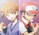 2boys badge baseball_cap black_hair black_shirt blue_oak brown_hair collarbone commentary_request hat holding holding_poke_ball indoors jacket jewelry kakiuchi_itsuki looking_to_the_side male_focus multiple_boys necklace open_mouth parted_lips poke_ball poke_ball_(basic) pokemon pokemon_(game) pokemon_rgby purple_shirt red_(pokemon) shirt short_sleeves smile spiky_hair split_screen teeth tongue