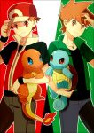 2boys bangs baseball_cap blue_oak brown_hair charmander closed_mouth commentary_request gen_1_pokemon green_shirt hat himari_g_(sr) holding holding_pokemon jacket jewelry looking_at_viewer male_focus multiple_boys necklace pants pokemon pokemon_(creature) pokemon_origins red_(pokemon) red_eyes shirt short_sleeves spiky_hair squirtle zipper_pull_tab