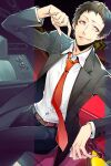1boy adachi_tooru atlus belt black_hair black_jacket caution_tape formal grin jacket long_sleeves male_focus megami_tensei necktie pants persona persona_4 red_neckwear sega shin_megami_tensei shirt signature sitting smile solo suit television white_shirt yuu_(isis7796)