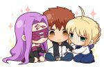 1boy 2girls @_@ ahoge artoria_pendragon_(all) black_footwear black_sleeves blindfold blonde_hair blouse boots chibi collar detached_sleeves dress emiya_shirou facial_mark fate/stay_night fate_(series) forehead_mark green_eyes highres long_hair long_sleeves multiple_girls orange_hair purple_collar purple_hair raglan_sleeves rider saber shirt short_dress skirt strapless strapless_dress thigh-highs thigh_boots tsubuta_hiro very_long_hair white_shirt yellow_eyes