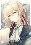 1girl blonde_hair blue_eyes bon@villa close-up holding holding_paper light_smile looking_down paper petals reading solo violet_evergarden violet_evergarden_(character)