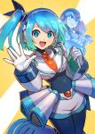 1girl 3boys android axl bangs blue_eyes blue_hair blush breasts capcom closed_mouth eyebrows_visible_through_hair headphones helmet highres holding kuroi_susumu large_breasts leg_up looking_at_viewer microphone multiple_boys navigator open_mouth rico_(rockman) robot rockman rockman_x rockman_x_dive side_ponytail smile waving x_(rockman) zero_(rockman)