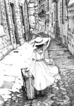 1girl absurdres arm_up building cluseller commentary dappled_sunlight dress from_behind full_body grate greyscale hat hat_ribbon highres monochrome original ribbon road sash shoes short_hair short_sleeves sign solo standing street suitcase sun_hat sunlight traditional_media waving