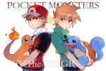 2boys :t bangs baseball_cap blue_oak brown_hair charmander copyright_name eyebrows_visible_through_hair fingernails gen_1_pokemon green_shirt hat holding holding_pokemon ikaru jacket looking_back male_focus multiple_boys pokemon pokemon_(creature) pokemon_origins red_(pokemon) red_eyes shirt short_sleeves smile squirtle symbol_commentary teeth v-shaped_eyebrows
