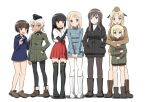 507th_joint_fighter_wing 6+girls anabuki_tomoko bangs black_eyes black_footwear black_hair black_headwear black_jacket black_legwear black_neckwear black_ribbon black_shirt blonde_hair blouse blue_blouse blue_eyes blue_jacket blue_sailor_collar blunt_bangs blush bob_cut book boots brown_eyes brown_footwear brown_hair brown_headwear brown_jacket closed_mouth commentary_request elizabeth_f_beurling elma_leivonen frown garrison_cap giuseppina_ciuinni glasses green_eyes green_jacket hair_ribbon hakama_skirt hand_on_hip hands_in_pockets hands_on_another's_shoulders hands_together hat holding holding_book hug hug_from_behind interlocked_fingers jacket japanese_clothes kaneko_(novram58) katharine_ohare light_smile long_hair long_sleeves looking_at_viewer medium_hair military military_hat military_uniform miniskirt multiple_girls neckerchief no_pants no_socks open_mouth pantyhose red_skirt ribbon round_eyewear sailor_collar sakomizu_haruka sandals shadow shirt shoes short_hair short_over_long_sleeves short_sleeves silver_hair simple_background skirt smile standing straight_hair sweatdrop tan tearing_up thigh-highs uniform ursula_hartmann v_arms white_background white_footwear white_legwear white_shirt world_witches_series zipper