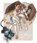 1boy 1girl bangs black_fur black_hair boots brown_footwear character_name commentary_request dark_skin dexio_(pokemon) gen_4_pokemon gen_5_pokemon holding holding_poke_ball ikra_(katacoly) jacket light_brown_hair long_sleeves luxio mandibuzz open_mouth pants poke_ball pokemon pokemon_(creature) pokemon_(game) pokemon_xy premier_ball shoes short_hair sina_(pokemon) smile tongue white_footwear white_jacket white_pants