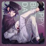 1boy bangs black_cape black_hair black_headwear border brown_footwear cape checkered checkered_scarf commentary_request danganronpa dated fang from_side grin hair_between_eyes happy_birthday hat highres holding holding_mask jacket leg_up long_sleeves male_focus mask mask_removed nanin new_danganronpa_v3 ouma_kokichi pants pink_border purple_hair scarf shoes short_hair sitting smile solo straitjacket teeth violet_eyes white_jacket white_pants