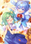 2girls :d :o ascot autumn_leaves bangs blue_bow blue_dress blue_eyes blue_hair blue_wings blush bow cirno collared_shirt commentary_request daiyousei detached_wings dress eyebrows_visible_through_hair green_eyes green_hair hair_between_eyes hair_bow hands_together hands_up highres ice ice_wings ittokyu multiple_girls one_side_up open_mouth own_hands_together puffy_short_sleeves puffy_sleeves red_bow shirt short_sleeves signature sleeveless sleeveless_dress smile touhou upper_teeth v-shaped_eyebrows white_shirt wings yellow_bow yellow_neckwear
