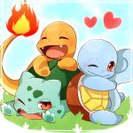 blush bulbasaur charmander closed_eyes closed_mouth commentary_request fangs fire flame gen_1_pokemon grass heart highres lying ni_hoshi on_stomach one_eye_closed open_mouth pokemon pokemon_(creature) red_eyes sitting smile squirtle starter_pokemon_trio tongue