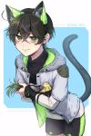 1boy animal_ears bandaid bandaid_on_head bangs bird black_shirt black_shorts blue_background brown_hair cat_ears cat_tail commentary_request copyright_request crossed_bangs eyebrows_visible_through_hair fake_animal_ears fake_tail green_eyes green_jacket green_shorts grey_jacket highres holding hood hood_down hooded_jacket jacket leaning_forward long_sleeves looking_at_viewer mole mole_under_eye multicolored multicolored_clothes multicolored_jacket nanin sena_rui shirt short_hair short_over_long_sleeves short_sleeves shorts smile solo tail white_background