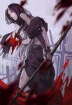 1boy black_hair blood guilty_gear kyo_niku long_hair looking_at_viewer red_eyes scythe testament_(guilty_gear)